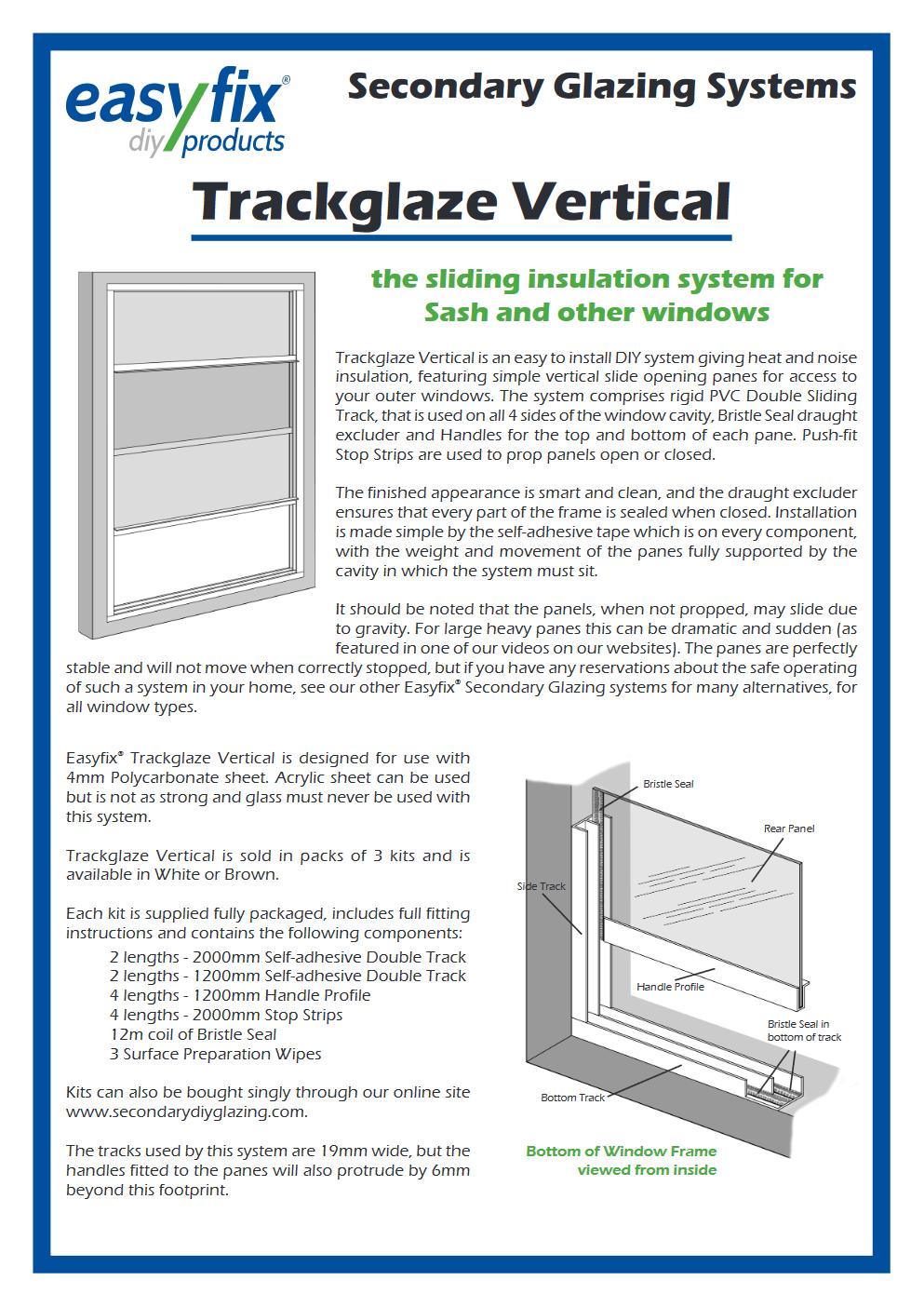 easyfix trackglaze vertical eleaflet pdf