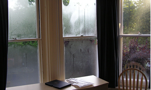 Typical bedroom condensation, when secondary glazing is not used