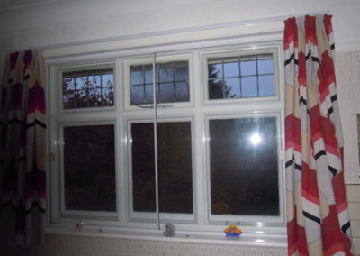 Magnetglaze used within older sliding Secondary Glazing to suppress condensation. Note the one pane not using Magnetglaze is steamed up. Thanks to Evelyn and Hugh Thomas